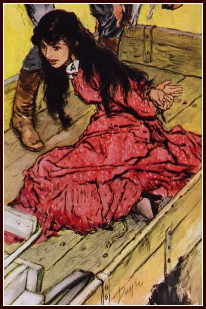 kneeling girl tied in the bed of a wagon with her hands behind her back