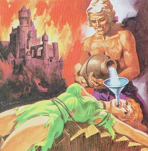 forcing water into the mouth of a woman while a castle burns in the background