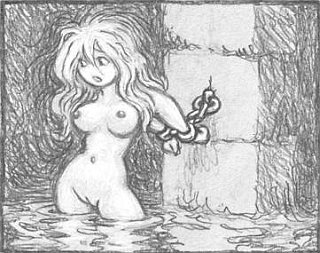 cutie in chains in a very wet dungeon