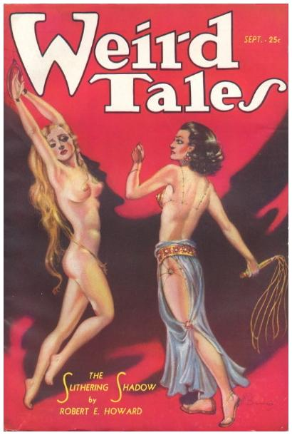 bondage and martinet whipping on the cover of weird tales