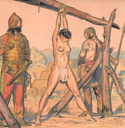 bronze age slave woman tied to a whipping frame and guarded by two soldiers