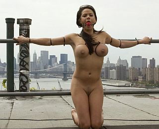 bound on a public rooftop for all to see